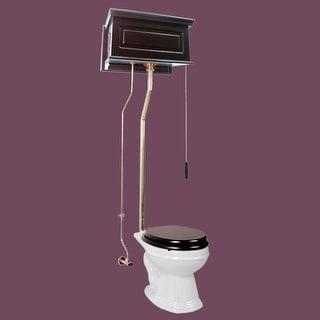 Dark Oak High Tank L-Pipe Toilet Elongated White Bowl