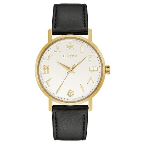 Bulova Mens Goldtone Stainless Masonic Symbols Dial Black Leather Strap Watch - Gold-Tone