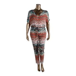 VELVET BY GRAHAM & SPENCER Womens Printed Short Sleeves Jumpsuit - L
