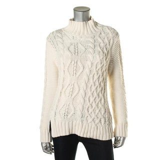 525 America Womens Cable Knit Mock Neck Pullover Sweater - XS