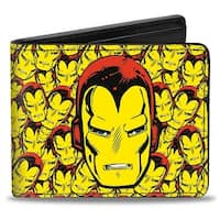Marvel Comics Iron Man Face Close Up Stacked Bi Fold Wallet - One Size Fits most
