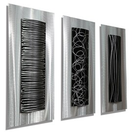 Statements2000 Silver/Black Metal Wall Art Accent Sculpture by Jon Allen (Set of 3) - Trifecta