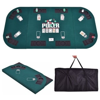 Costway Folding Four Fold 8 Player Poker Table Top \u0026 Carrying Case Portable Green  sc 1 st  Overstock.com & Casino \u0026 Poker Tables For Less   Overstock.com