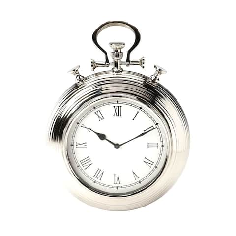 Offex Transitional Round Steel and Aluminum Wall Clock - Silver