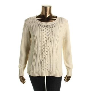 Grace Elements Womens Pullover Sweater Long Sleeves Rhinestone