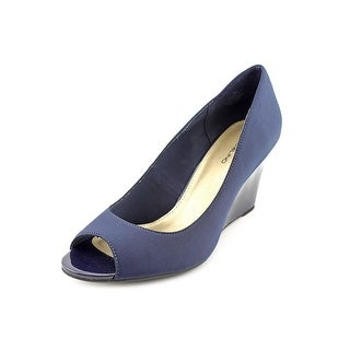 Bandolino Tuff Love Women Open Toe Canvas Blue Wedge Heel