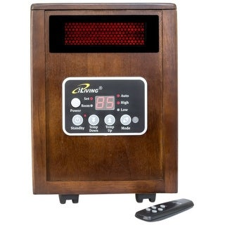 iLIVING ILG-918 Infrared Portable Space Heater with Dual Heating System, 1500W, Dark Walnut Wooden C - brown