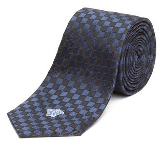 Versace Men's Slim Silk Medusa Checkered Tie Navy Blue Black - no size