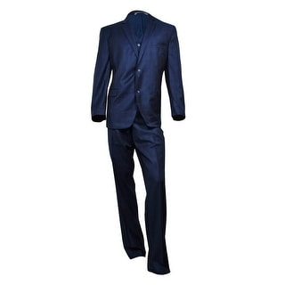 Andrew Marc Men's Slim-Fit Tonal Plaid Vested Suit 48R, Navy - 48 r/42 w