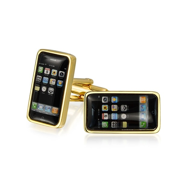 Bling Jewelry Black Smart Phone Home Screen Tech Gold Plated Mens Cufflinks