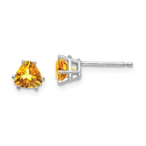 14K White Gold Citrine Trillion Stud Earrings by Versil