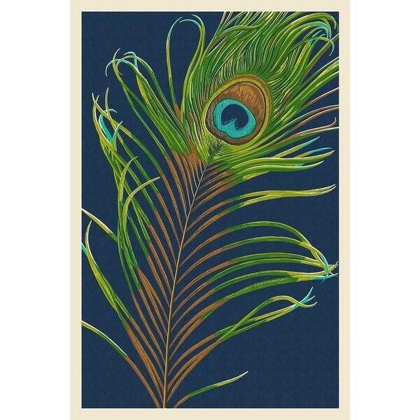 Peacock Feather - Letterpress - LP Artwork (100% Cotton Towel Absorbent)