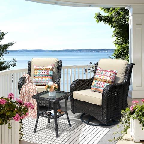 Ovios Patio Furniture Sets 3-piece Rattan Wicker Rocking Swivel Chair Sectional Sofa Set