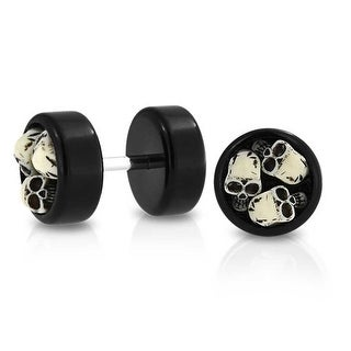 Bling Jewelry Black Acrylic Three Skulls Fake Cheater Plugs 316L Steel