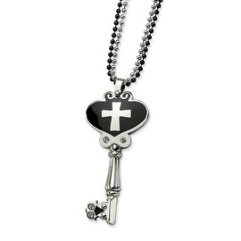 Chisel Stainless Steel Black Enamel Polished Key with CZs 28 Inch Double Chain Necklace (2 mm) - 28 in