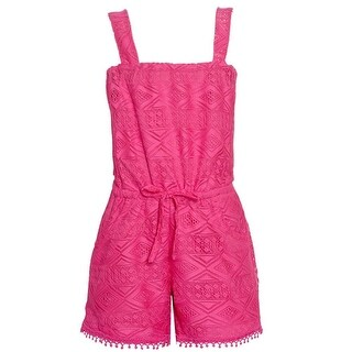 Real Love Little Girls Fuchsia Lace Tie Sleeveless Casual Jumper