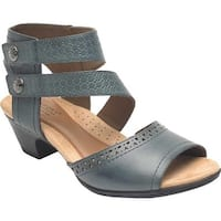 Rockport Women's Cobb Hill Abbott 2 Piece Cuff Sandal Blue Leather