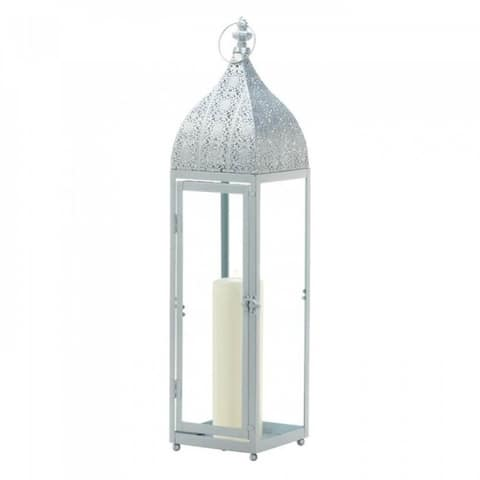 Tall Silvery Moroccan Candle Lantern