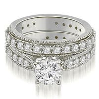 2.00 cttw. 14K White Gold Cathedral Round Cut Eternity Diamond Bridal Set