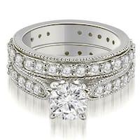 2.25 cttw. 14K White Gold Cathedral Round Cut Eternity Diamond Bridal Set