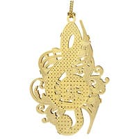 "3"" 24K Gold Finished Ornate Musical Notes Christmas Ornament"