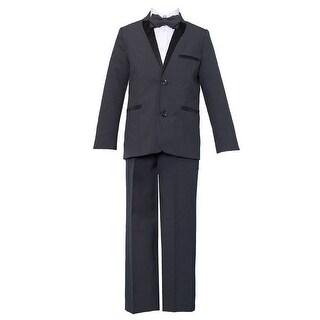 Baby Boys Gray Black 4 Pcs Shirt Bow Pants Jacket Slim Fit Tuxedo