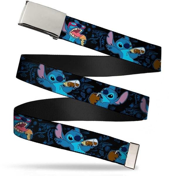 Blank Chrome Buckle Stitch Snacking Poses Black Blue Webbing Web Belt