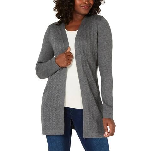 Karen Scott Womens Petites Cardigan Sweater Knit Open
