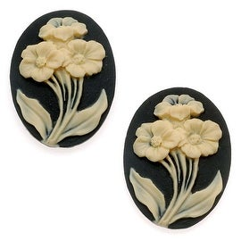 Vintage Style Lucite Cameo - Black With 3 Ivory Flowers 25x18mm (2 Pieces)