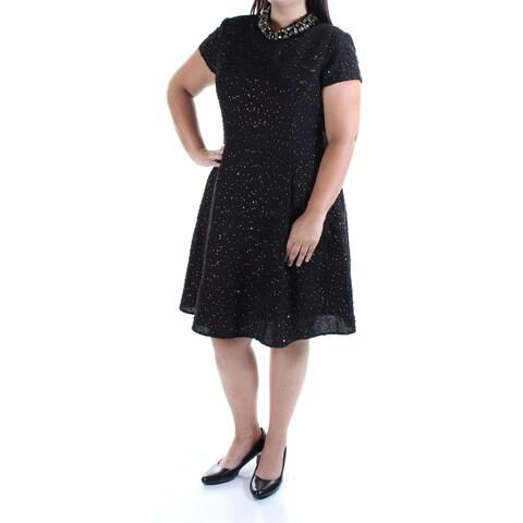 VINCE CAMUTO Womens Black Embellished Textured Short Sleeve Crew Neck Knee Length Circle Dress Size: 16