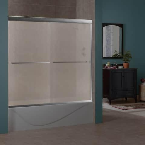 "Miseno MTDR6060 Azul 60"" High x 56""-60"" Wide Sliding Frameless Shower Door with 1/4"" Pattern Glass -"