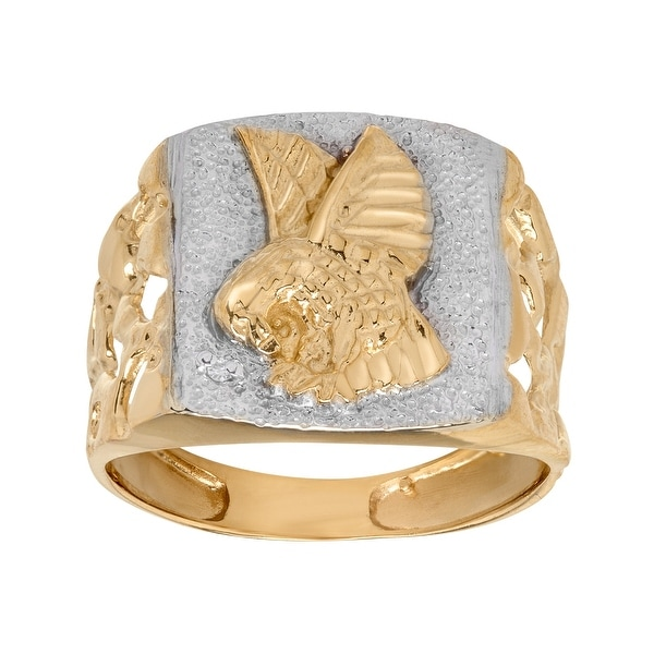 Just Gold Bald Eagle Signet Ring in Two-Toned 10K Gold - Two-tone