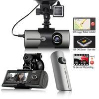 "Indigi XR300 Dash CAM + 2.7"" HD LCD + Dual Lens (180 Degree Coverage) + GPS Google Maps Tracker"