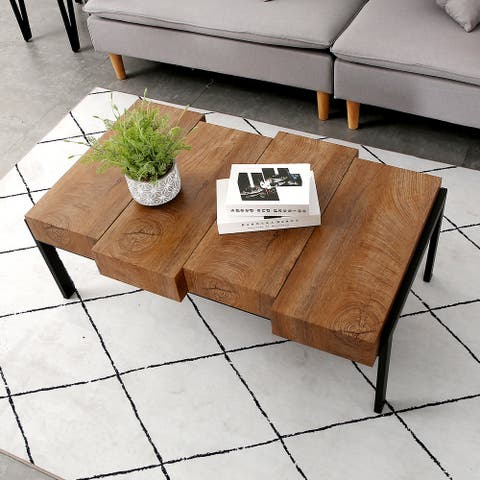 Rustic Coffee Table for Living Room Stylish Farmhouse Wood Rectangular Coffee Tables Accent Table Side Table
