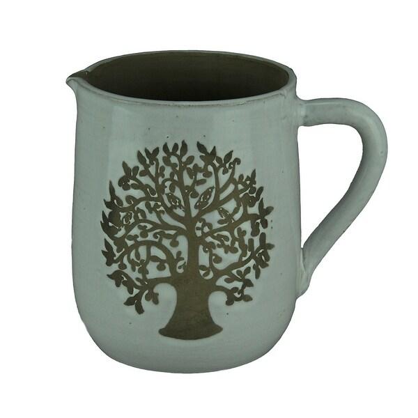 Bird Family Tree Grey Decorative Stoneware Pitcher - 7.25 X 8 X 5.75 inches