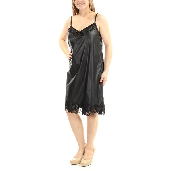 2e86ece0859 Shop Womens Black Spaghetti Strap Knee Length Party Dress Size: M - Free  Shipping On Orders Over $45 - Overstock - 21393807