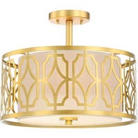 "Nuvo Lighting 60/5937 Filigree 2-Light 15"" Wide Semi-Flush Drum Ceiling Fixture - natural brass - n/a"