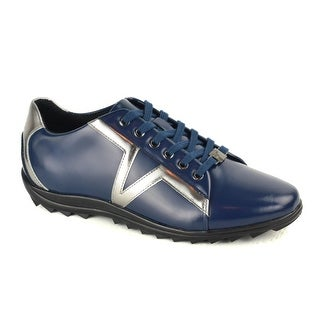 Versace Mens Blue Patent Leather Metallic Accent Lace Up Sneaker