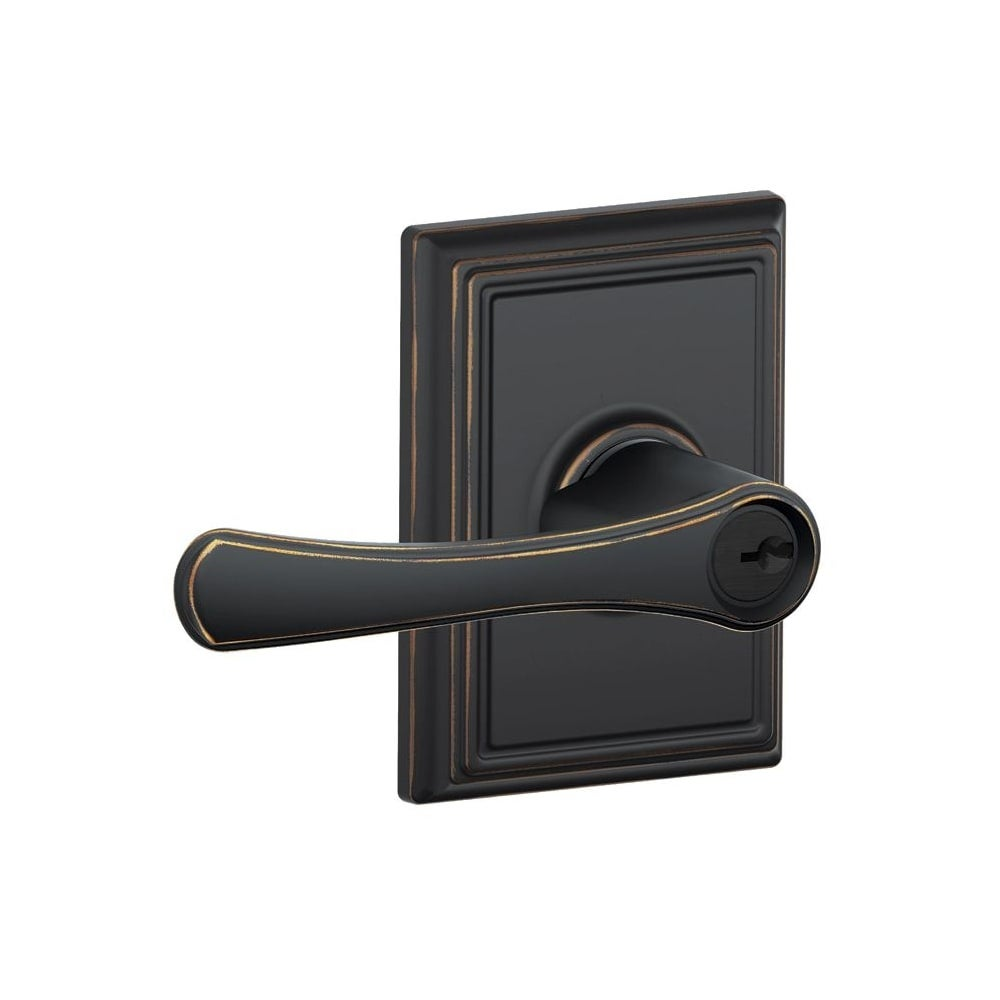 Schlage F51-VLA-ADD  Avila Single Cylinder Keyed Entry Door Lever Set with Decorative Addison Trim (Antique Brass)