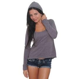 Women's Juniors Scoop Neck Hoodie Ultralight Gym Sports Sweatshirt Casual Soft