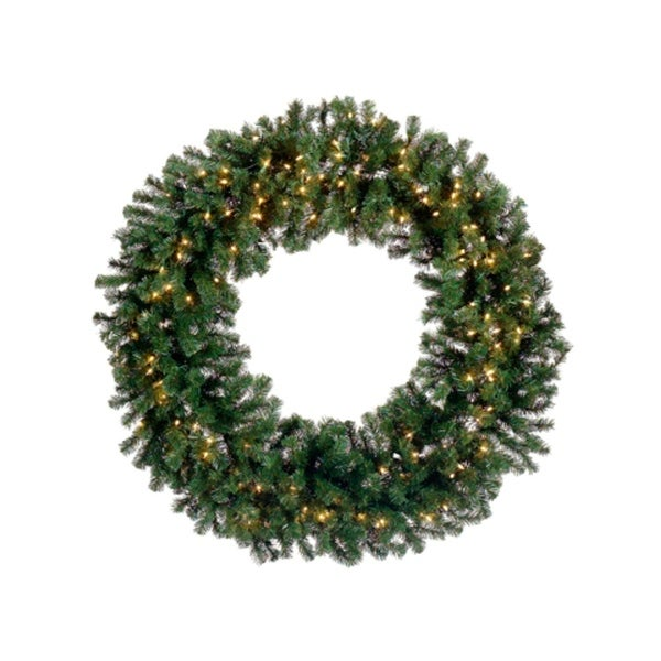 """48"""" Pre-Lit Deluxe Windsor Pine Artificial Christmas Wreath - Clear Lights - green"""