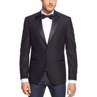 Kenneth Cole New York Slim Fit Black Textured Evening Jacket 44 Long 44L