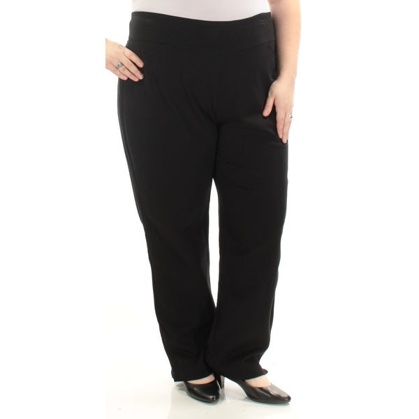 Shop Womens Black Wear To Work Straight leg Pants Plus Size 22W ...