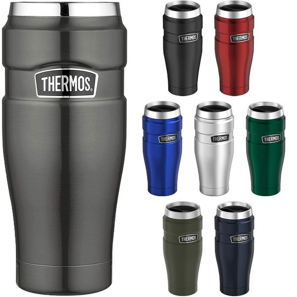 a88220ec1d5 Shop Thermos 16 oz. Stainless King Vacuum Insulated Stainless Steel Travel  Mug - 16 oz. - Free Shipping On Orders Over $45 - Overstock - 19848717