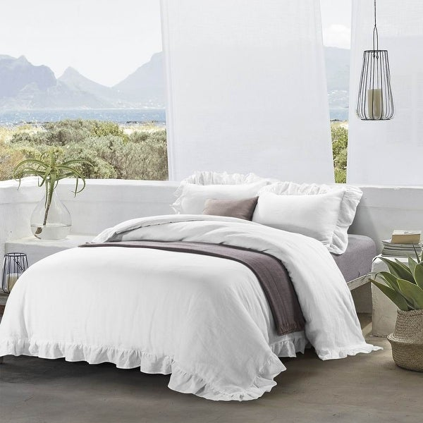 Ruffled Linen Duvet Cover & Pillow Shams Set. Opens flyout.