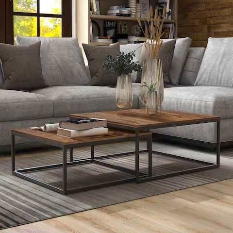 Furniture of America Finley Minimalist Solid Wood Coffee Tables