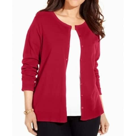 August Silk Womens Sweater Red Size 1X Plus Cardigan Button Front
