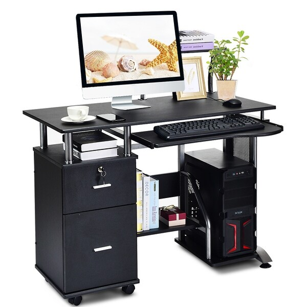 Black Computer Desk Home Office Workstation Laptop Table Drawer /& Keyboard Tray