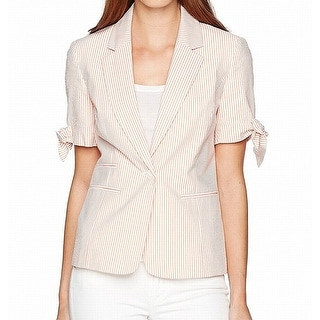 Link to Nine West Women's Blazer White Orange Size 12 Pinstriped Single-Button Similar Items in Suits & Suit Separates