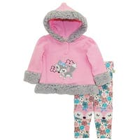 Duck Goose Baby Girl Foxy Lady Hooded Microfleece Jacket Floral Legging Pant Set